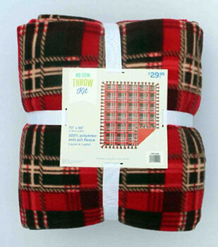 "78"" No Sew Throw-Chili Red Plaid"
