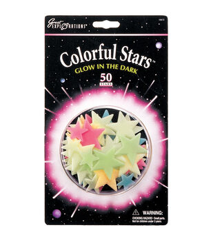 Glow In The Dark Pack-Colorful Stars 50/Pkg