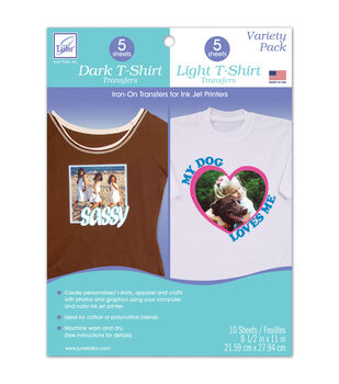 "Variety Pack Dark T-Shirt and Light T-Shirt Transfers, 8.5"" x 11"" size."
