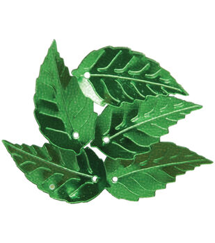 Sequin Leaf Green Lg