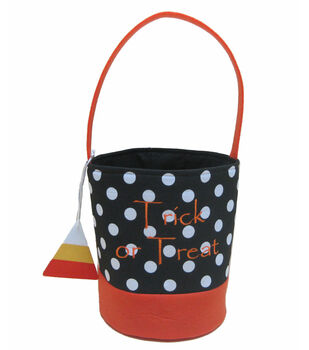 Maker's Halloween Treat Bag-Black/White Dot with Charm