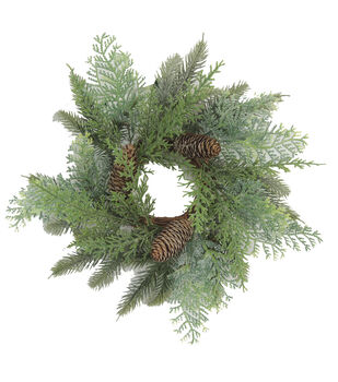 Blooming Holiday 13'' Cedar & Pine Mini Wreath-Green