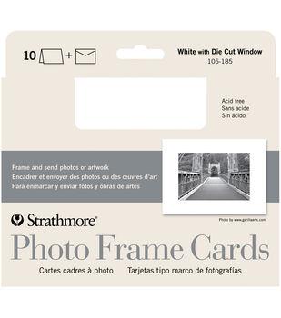 """Strathmore Cards & Envelopes 5""""X7"""" 10/Pkg-White Photo Frame"""