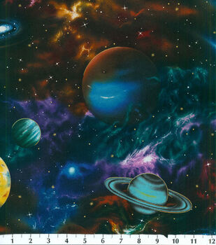 Novelty Cotton Fabric-Large Planets