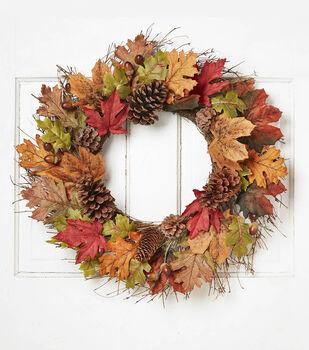 "Blooming Autumn 24"" Oak Leaves, Acorn & Pinecone Wreath-Brown/Green"