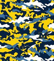 University of Michigan NCAA Camo Fleece Fabric, , hi-res