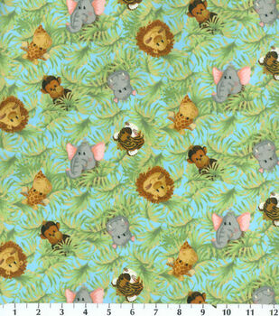Nursery Fabric-Jungle Babies Toss Flannel