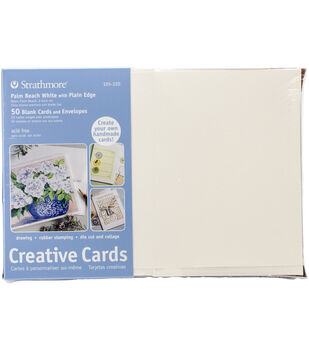 "Strathmore Cards & Envelopes 5""X6.875"" 50/Pkg-Palm Beach White W/Plain Edge"