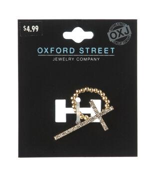 Oxford Street Jewelry Co. Gold Rhinestone Cross Ring