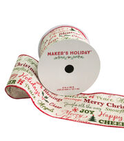 Maker's Holiday Burlap Ribbon 4''x40'-Red & Green Script, , hi-res