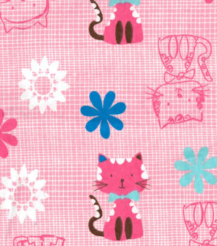 Snuggle Flannel Fabric-Cat & Flowers