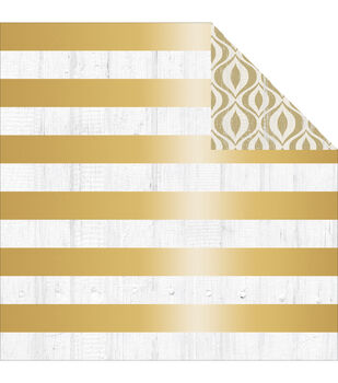 "Tinsel & Company Foiled Double-Sided Cardstock 12""X12""-Gold Stripes"