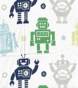 Nursery Fabric - Little Bot Happy