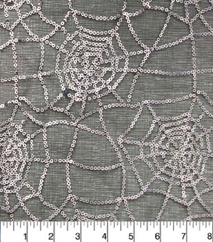 Halloween Special Occasion Mesh Fabric-Sequin Silver Web On Black