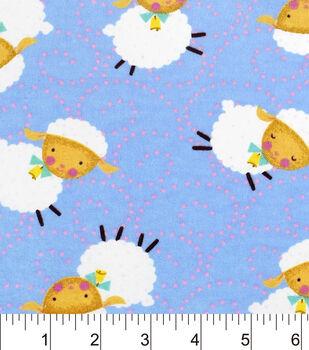 Nursery Flannel Fabric-Rhymes Blue Sheep