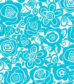 Tutti Fruiti Embossed Fabric Splash Tropical Turquoise
