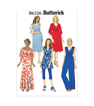 Butterick Pattern B6226-A50-Misses' Maternity Tunic, Dress, Jumpsuit, Belt And Leggings-6-8-10-12-14