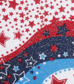 Holiday Inspirations Patriotic Fabric- Wavy Stars Glitter Wide
