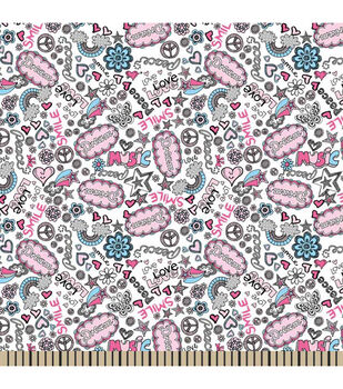 Snuggle Flannel Fabric-Doodles