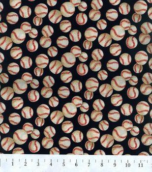 Novelty Cotton Fabric-Navy Baseball
