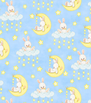 Nursery Fabric - Bunnies In Sky Flannel