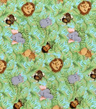 Nursery Print Fabric Jungle Babies A/O