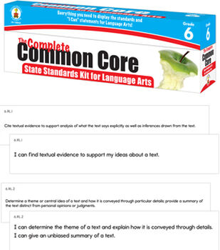 Complete Common Core State Standards Kit for Language Arts Grade 6