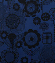 Alexander Henry Cotton Fabric-Wild Flower Indigo Black, , hi-res