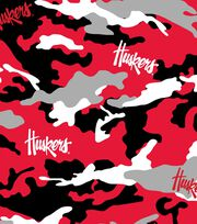 University of Nebraska NCAA Camo Cotton Fabric, , hi-res