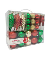 Maker's Holiday 75ct Shatterproof Ornaments-Red, Green & Gold, , hi-res