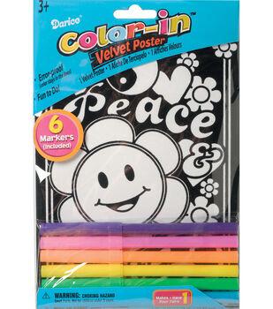 Darice Color-In Velvet Poster Smiley Peace
