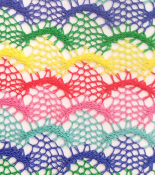 Doodles Collection Scallop Open Weave Knit Fabric-Multi