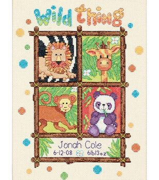 Dimensions Baby Hugs Counted Cross Stitch Kit Wild Thing Birth Record