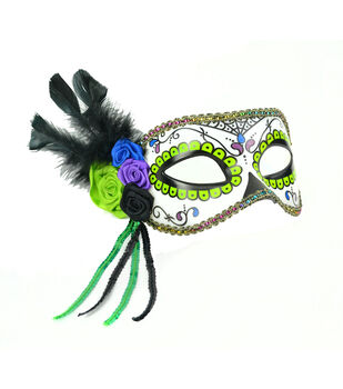Maker's Halloween Day Of The Dead Mask With Flowers-Green & Purple