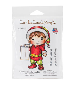 La-La Land Crafts Cling Stamps-Christmas Elf Luka With List