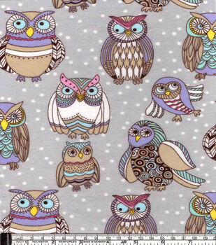 Snuggle Flannel Fabric-Colorful Owl Friends