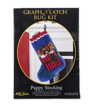"Latch Hook Kit 12""X17""-Puppy Stocking"
