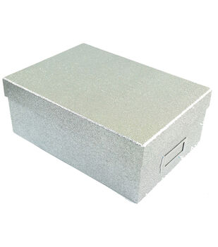 Silver Glitter Photo Storage Box