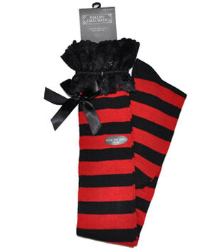 Maker's Halloween Rugby Over the Knee Socks-Lace Red