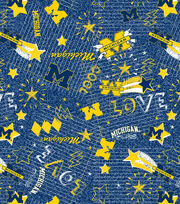 University of Michigan NCAA Jersey Knit Fabric, , hi-res
