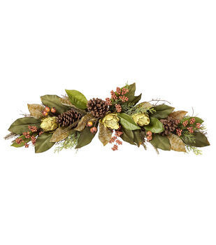 "Blooming Autumn 36"" Artichoke Swag-Brown/Green"