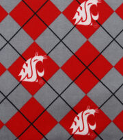 Washington State University NCAA Argyle Fleece Fabric, , hi-res