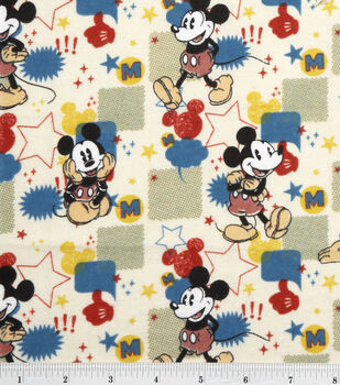 Disney Mickey Comic Burst Flannel Fabric