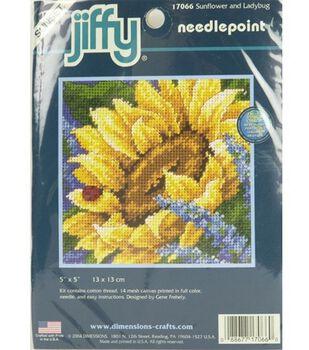 Dimensions Mini Needlepoint Kit Jiffy Sunflower And Ladybug