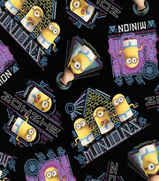 Minions Egyptian Black Cotton Fabric, , hi-res