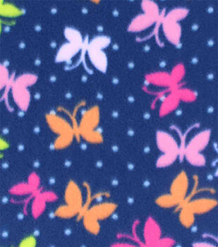 Blizzard Fleece Prints-Bright Butterflies On Navy