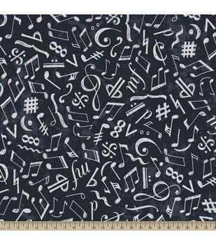 Anti-Pill Fleece Fabric-Chalkboard Music Notes Navy