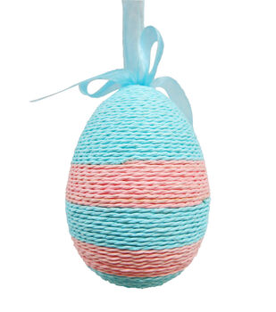 Easter Egg with Rope Ornament-Turqouise/Pink