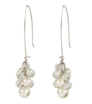 A-wire Cluster Earring Pearl Crystal