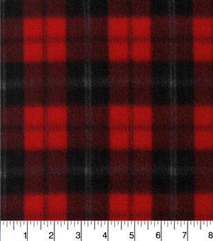 Blizzard Fleece Fabric-Red And Black Plaid